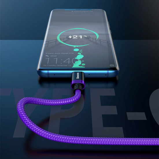 Baseus Purple Flash Charge Cable Type-C 5A 40W - Καλώδιο Γρήγορης Φόρτισης Type-C 2M - Purple - CATZH-B05