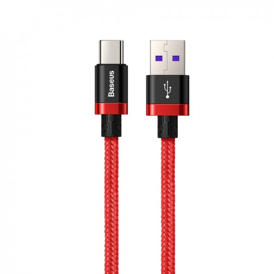 Baseus Purple Flash Charge Cable Type-C 5A 40W - Καλώδιο Γρήγορης Φόρτισης Type-C 2M - Red - CATZH-B09