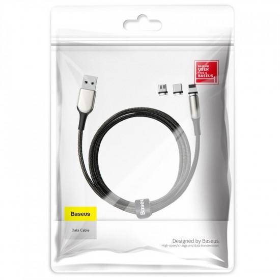 Baseus Zinc Magnetic Set Kit Μαγνητικό Καλώδιο Δεδομένων και Φόρτισης 2A 2m - Micro USB / Lightning / Type-C - Black - TZCAXC-G01