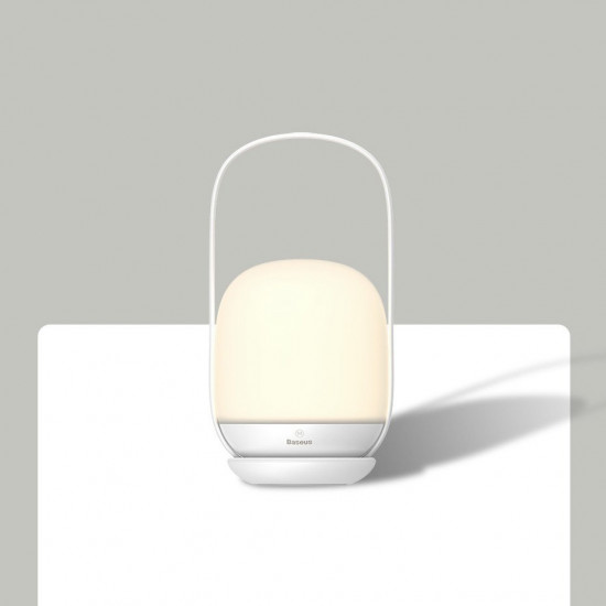 Baseus Moon-White Series Επαναφορτιζόμενο Φωτιστικό με Βάση Φόρτισης - White - DGYB-A02