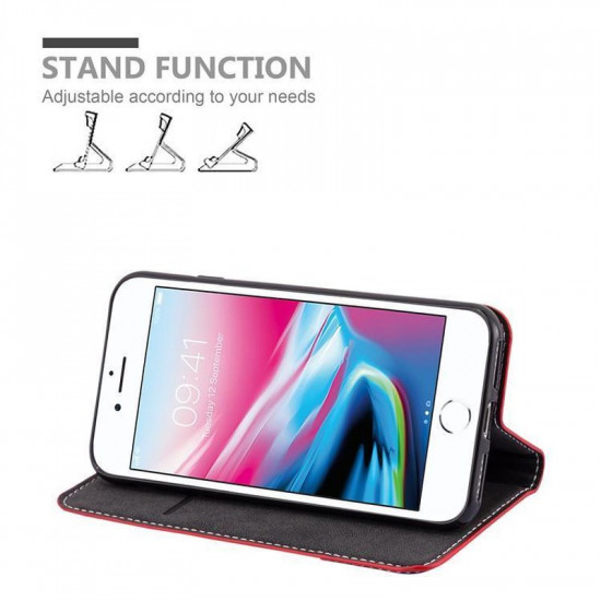 Cadorabo Apple iPhone SE 2020 / iPhone 7 / iPhone 8 Θήκη Βιβλίο Stand - Red - Black