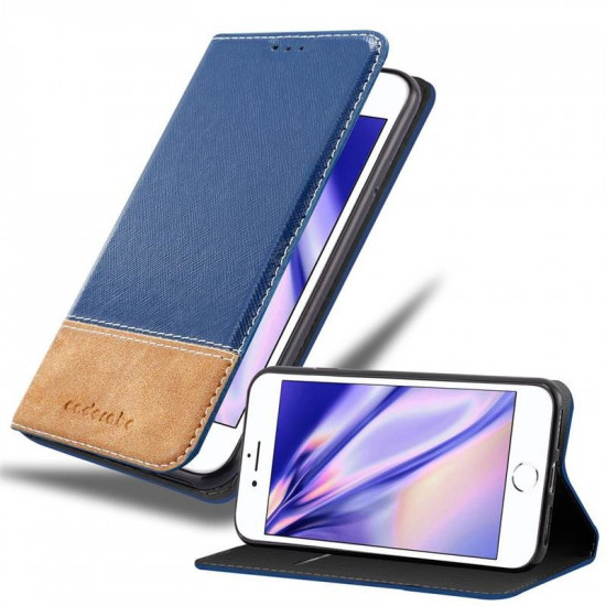 Cadorabo Apple iPhone SE 2020 / iPhone 7 / iPhone 8 Θήκη Βιβλίο Stand - Dark Blue - Brown