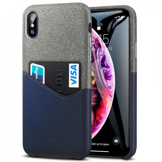 ESR Apple iPhone X / XS Metro Wallet Θήκη με Επένδυση Canvas και Συνθετικού Δέρματος και Υποδοχή για Κάρτα - Grey / Blue