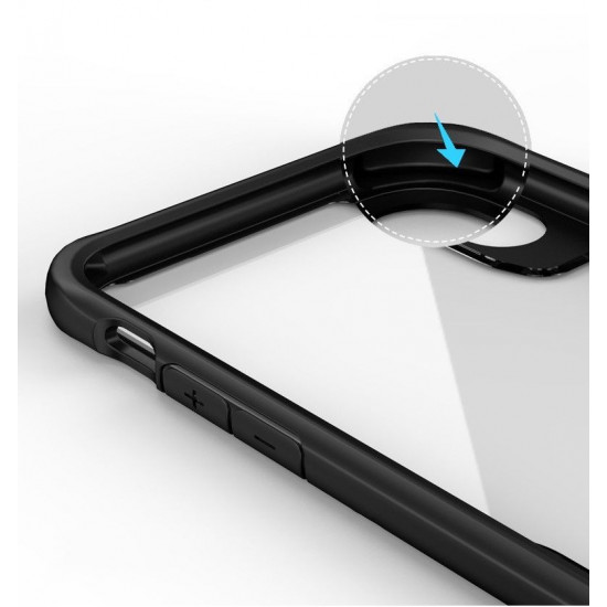 iPaky Apple iPhone XR Survival Σκληρή Θήκη με Πλαίσιο Σιλικόνης - Διάφανη / Black