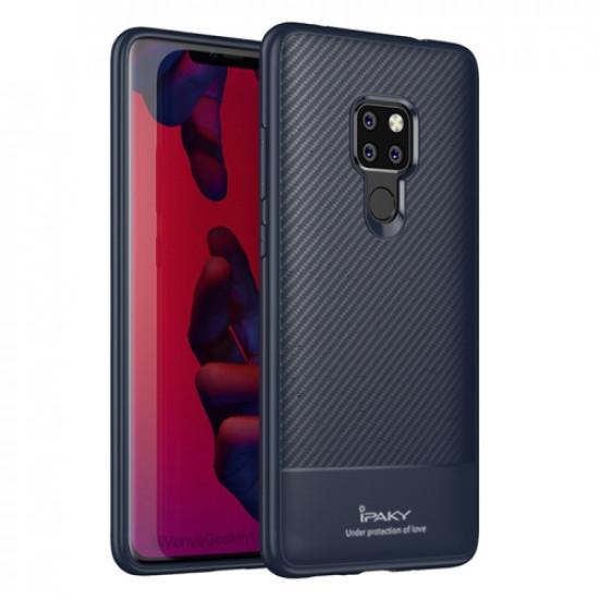 iPaky Huawei Mate 20 Θήκη Σιλικόνης Carbon Fiber - Blue