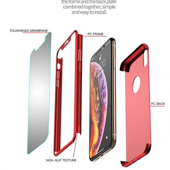 iPaky Apple iPhone X / XS Classic 360 Full Cover Σκληρή Θήκη με Αντιχαρακτικό Γυαλί Οθόνης - Red