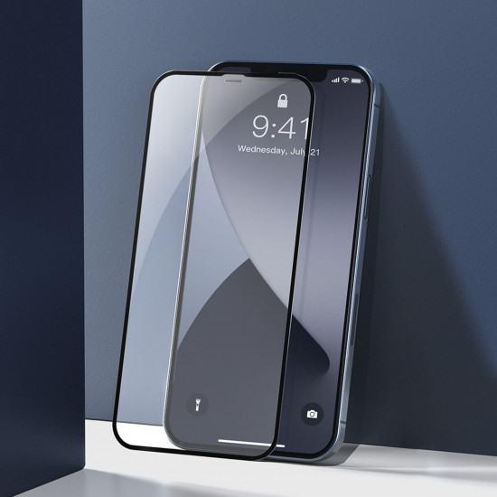 Baseus Curved-Screen Apple iPhone 12 / iPhone 12 Pro 0.23mm Full Screen Αντιχαρακτικό Γυαλί Οθόνης - 2 Τεμάχια - Black - SGAPIPH61P-PE01
