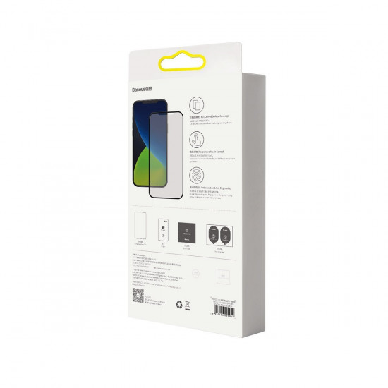 Baseus Apple iPhone 12 / iPhone 12 Pro 0.25mm Curved Frosted Full Screen Αντιχαρακτικό Γυαλί Οθόνης - 2 Τεμάχια - Black - SGAPIPH61P-KM01