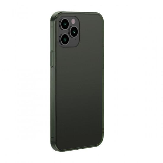 Baseus Apple iPhone 12 Pro Max Frosted Glass Θήκη με Πλαίσιο Σιλικόνης και Όψη Γυαλιού Tempered Glass - Green - WIAPIPH67N-WS06