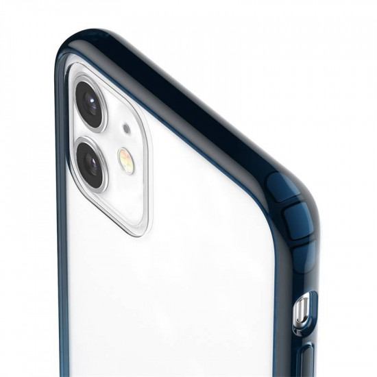 Baseus Apple iPhone 11 Element Crossbody Σκληρή Θήκη με Πλαίσιο Σιλικόνης και Λουράκι - Blue / Διάφανη - ARAPIPH61S-YS03