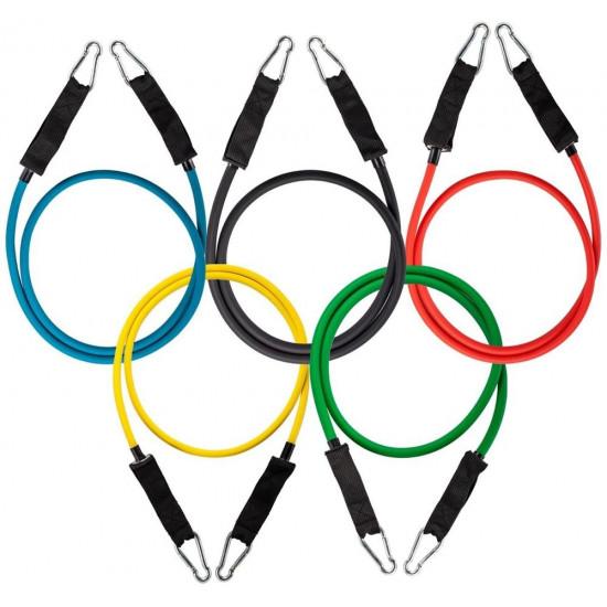 Wozinsky Resistance Bands Σετ με 5 Λάστιχα Γυμναστικής με χειρολαβή - Yellow / Green / Red / Blue / Black - WRTS5-01