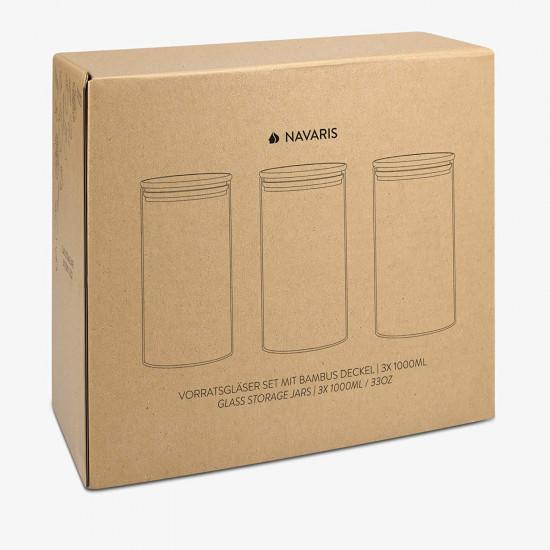Navaris Stackable Cylinder Canister Set Σετ 3 Γυάλινα Βάζα Αποθήκευσης - 1L - Διάφανα - 49986.02.03
