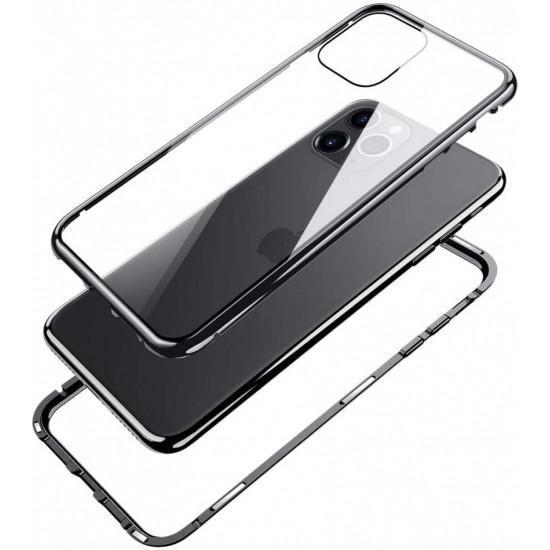 OEM Apple iPhone 12 / iPhone 12 Pro Μαγνητική Θήκη Full Body Front and Back με Screen Protector - Black / Διάφανη