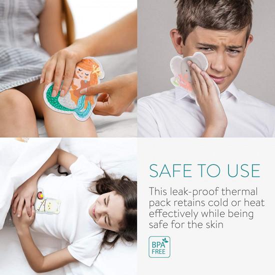 Navaris Σετ με 4 Παιδικά Επαναχρησιμοποιήσιμα Επιθέματα με Τζελ - BPA-Free / Phthalate-Free - Koala / Alpaca / Mermaid / Dinosaur - 52980.01