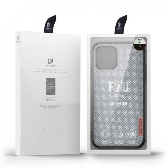 Dux Ducis Apple iPhone 11 Fino Series Σκληρή Θήκη με Πλαίσιο Σιλικόνης και Επένδυση από Ύφασμα - Crystal Blue
