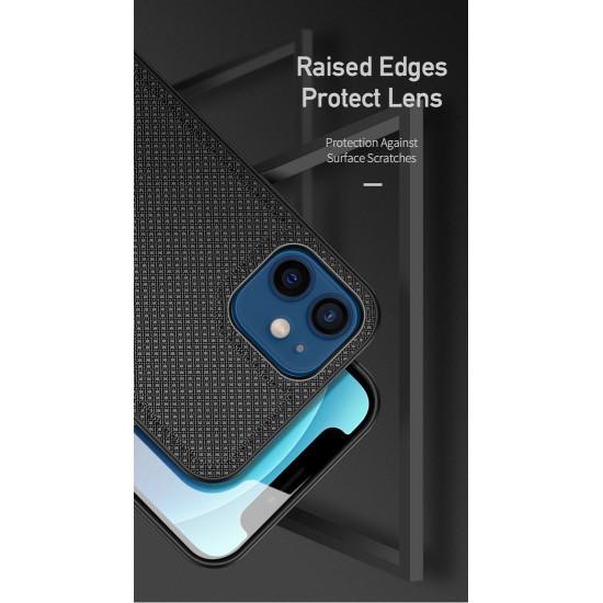 Dux Ducis Apple iPhone 12 mini Fino Series Σκληρή Θήκη με Πλαίσιο Σιλικόνης και Επένδυση από Ύφασμα - Black