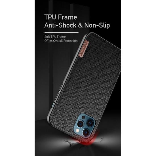 Dux Ducis Apple iPhone 12 Pro Max Fino Series Σκληρή Θήκη με Πλαίσιο Σιλικόνης και Επένδυση από Ύφασμα - Black