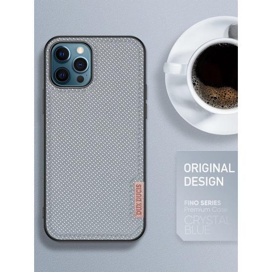 Dux Ducis Apple iPhone 12 / 12 Pro Fino Series Σκληρή Θήκη με Πλαίσιο Σιλικόνης και Επένδυση από Ύφασμα - Crystal Blue