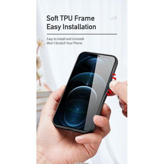 Dux Ducis Apple iPhone 12 / 12 Pro Fino Series Σκληρή Θήκη με Πλαίσιο Σιλικόνης και Επένδυση από Ύφασμα - Soldier Green
