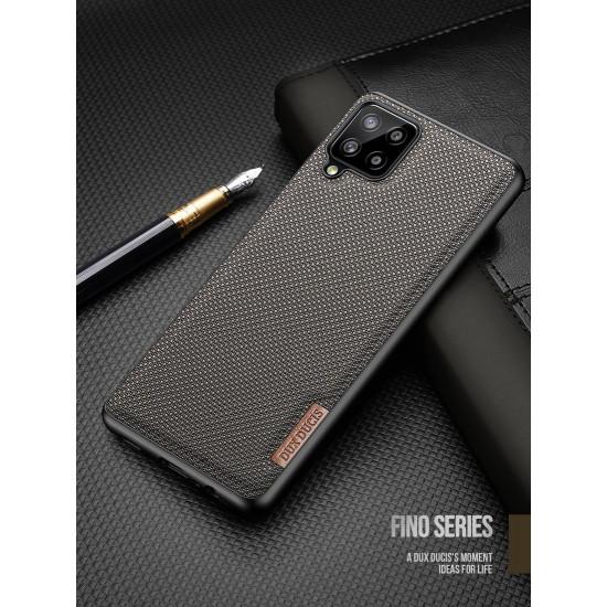Dux Ducis Samsung Galaxy A12 Fino Series Σκληρή Θήκη με Πλαίσιο Σιλικόνης και Επένδυση από Ύφασμα - Soldier Green