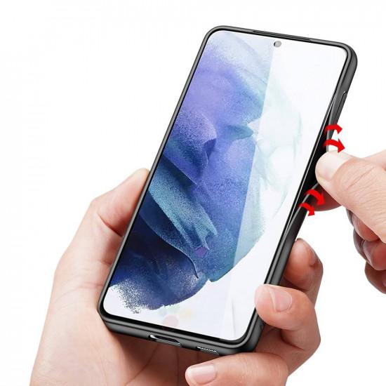 Dux Ducis Samsung Galaxy S21 Plus Fino Series Σκληρή Θήκη με Πλαίσιο Σιλικόνης και Επένδυση από Ύφασμα - Black