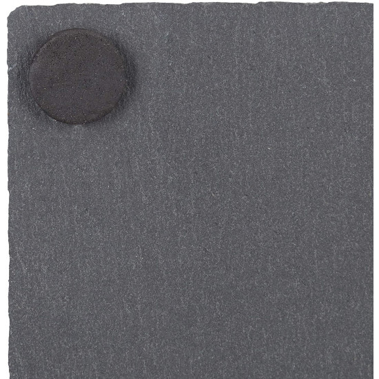 Relaxdays Σετ με 8 Τετράγωνα Σουβέρ από Σχιστόλιθο με Ξύλινη Βάση και Κιμωλία - Grey / Natural - 4052025273033