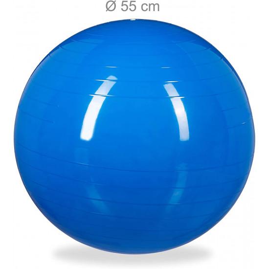 Relaxdays Μπάλα Γυμναστικής 55 cm - Blue - 4052025921934