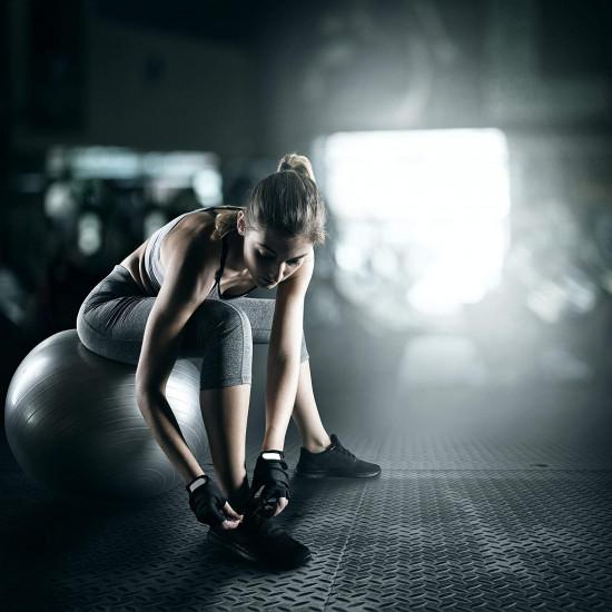Relaxdays Μπάλα Γυμναστικής 55 cm - Silver - 4052025921897