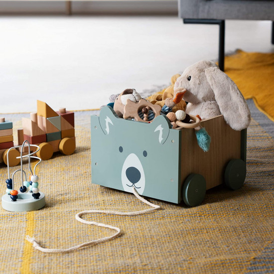 Navaris Toy Box Storage for Toys with Wheels - Παιδικό Κουτί Αποθήκευσης Παιχνιδιών με Ρόδες - Green / Brown - 51163.02