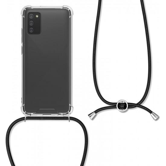 KW Samsung Galaxy A02s Θήκη Σιλικόνης TPU με Λουράκι - Διάφανη / Black - 55090.01