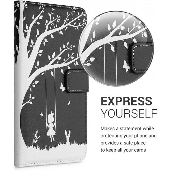 KW Samsung Galaxy A72 / A72 5G Θήκη Πορτοφόλι Stand - Design Girl Tree Swing - Black / White - 54361.02