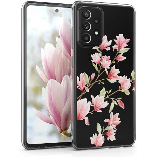 KW Samsung Galaxy A52 / A52 5G Θήκη Σιλικόνης TPU Design Magnolias - Light Pink / White - Διάφανη - 54348.03