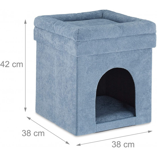 Relaxdays Σκαμπό / Σπηλιά για Γάτες - Grey - 4052025306687