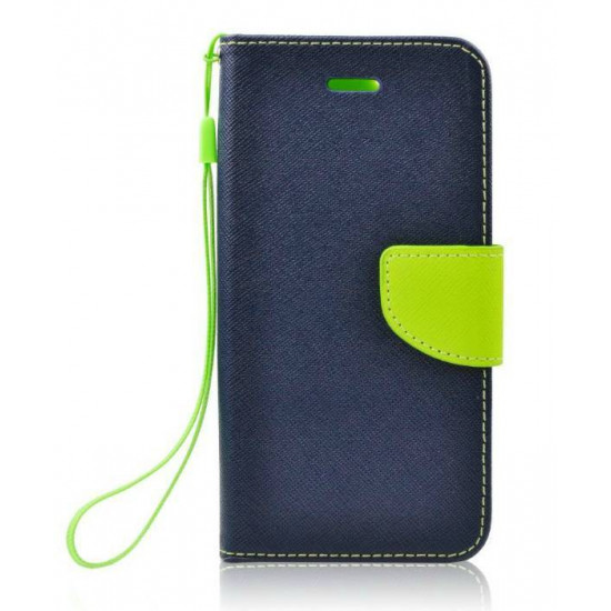 Forcell Fancy Diary Stand Case for Lenovo Vibe B - Navy / Lime