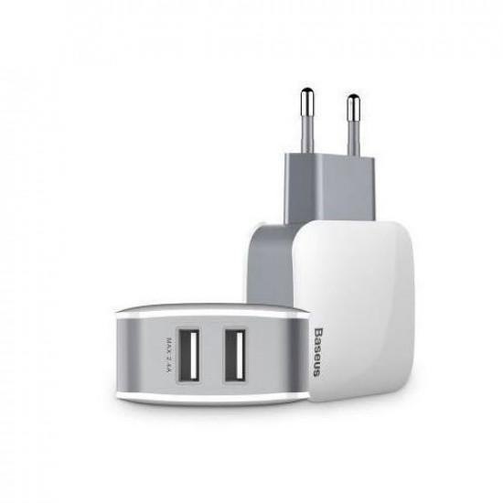 Baseus Letour Dual Port USB 2.4A Charger - Οικιακός Φορτιστής 2.4A με 2 Θύρες USB - Λευκό - ZCL2B-B02
