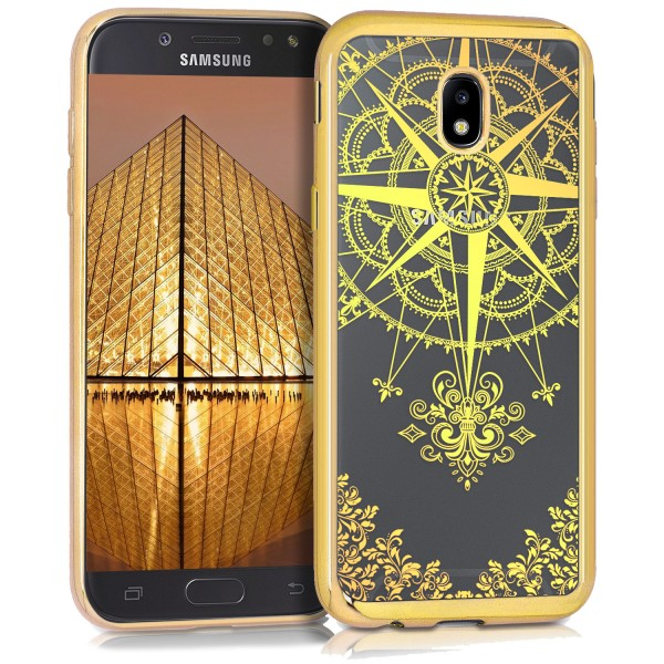 KW Samsung Galaxy J5 2017 Θήκη Σιλικόνης TPU Design Compass Baroque - Gold - Διάφανη - 42558.21