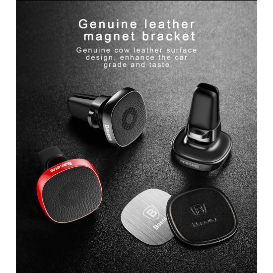 Baseus Privity Pro Air Vent Magnetic Car Mount Holder for Smartphones / iPhones - Μαγνητική Βάση Αυτοκινήτου Αεραγωγού με Δέρμα - Black - SUMQ-PR01