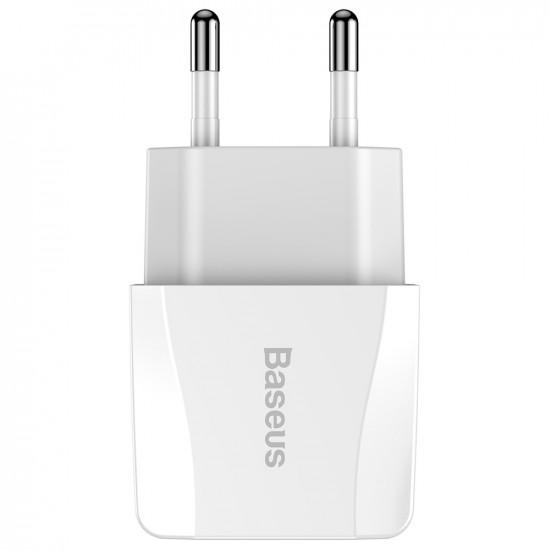 Baseus Mini Dual-U Dual Port USB 2.1A Charger - Οικιακός Φορτιστής 2.1A με 2 Θύρες USB - Λευκό - CCALL-MN02