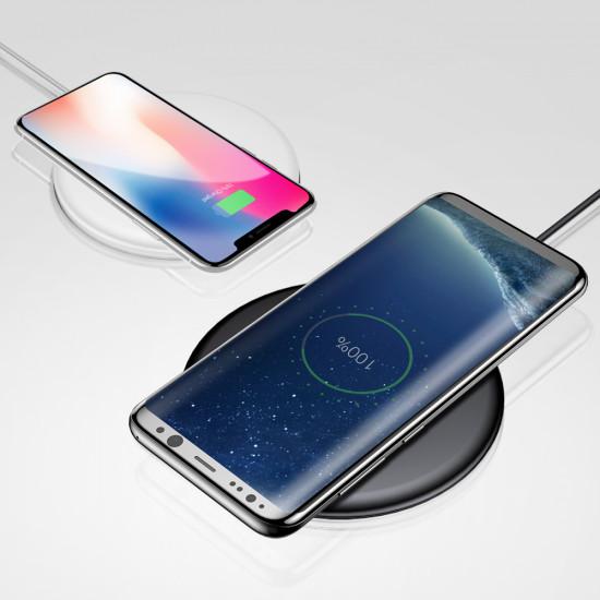 Baseus Donut Wireless Charger Charming for Smartphones - Ασύρματος Φορτιστής Qi Charge με Καλώδιο USB - Λευκό - WXTTQ-02