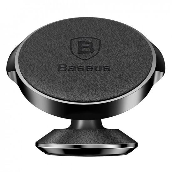 Baseus Small Ears Series Universal Magnetic Car Mount Holder for Smartphones / iPhones - Μαγνητική Βάση Αυτοκινήτου με Δέρμα - Black - SUER-F01