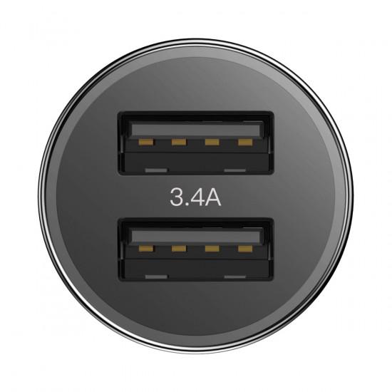 Baseus Small Screw Φορτιστής Αυτοκινήτου Γρήγορης Φόρτισης 3.4A 2xUSB Ports και Καλώδιο Type-C - Black - TZXLD-B01