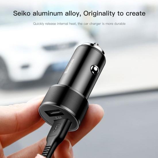 Baseus Small Screw Φορτιστής Αυτοκινήτου Γρήγορης Φόρτισης 3.4A 2xUSB Ports - Black - CAXLD-C01