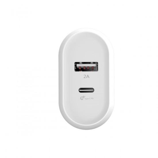 Baseus Bojure Series Type-C PD+U Charger - Οικιακός Φορτιστής Γρήγορης Φόρτισης USB και Type-C 28W - Λευκό - CCALL-BG02