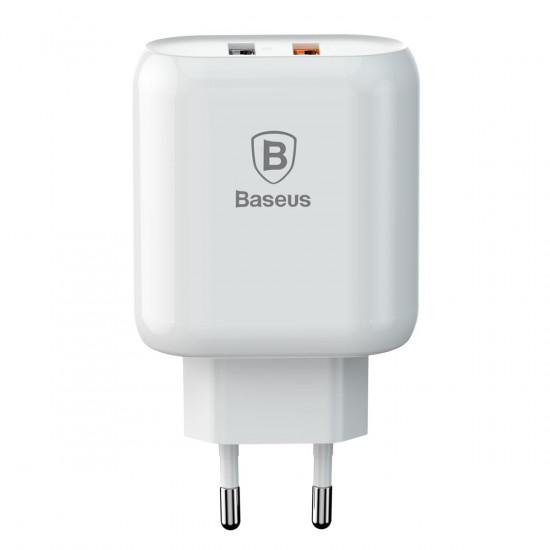 Baseus Bojure Series 2xUSB Charger - Οικιακός Φορτιστής Γρήγορης Φόρτισης 2xUSB 18W - Λευκό - CCALL-AG02