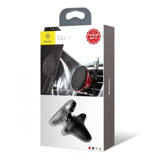 Baseus Magnetic Air Vent Car Mount Holder with Cable Clip - Μαγνητική Βάση Αυτοκινήτου Αεραγωγού με Clip για Καλώδιο - Black - SUGX-A01
