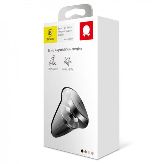 Baseus Small Ears Μαγνητική Βάση Αυτοκινήτου Αεραγωγού με Δέρμα - Black - SUER-E01