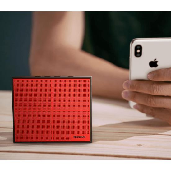 Baseus Encok Music-Cube E05 Ασύρματο Bluetooth Ηχείο 3W με Ενσωματωμένο Μικρόφωνο - Red / Black - NGE05-91