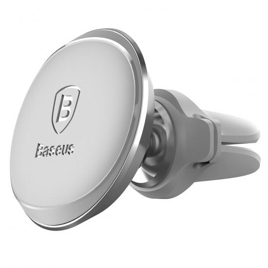 Baseus Magnetic Air Vent Car Mount Holder with Cable Clip - Μαγνητική Βάση Αυτοκινήτου Αεραγωγού με Clip για Καλώδιο - Silver - SUGX-A0S