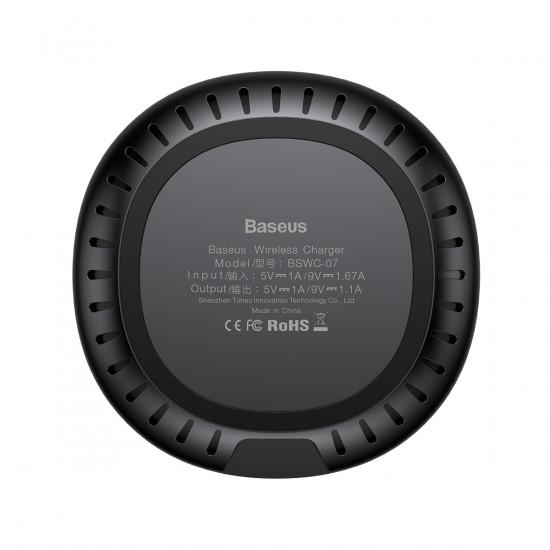 Baseus UFO Wireless Quick Charger for Smartphones - Ασύρματος Φορτιστής Γρήγορης Φόρτισης Qi Charge με Καλώδιο Micro USB 9V - Μαύρο - WXFD-01