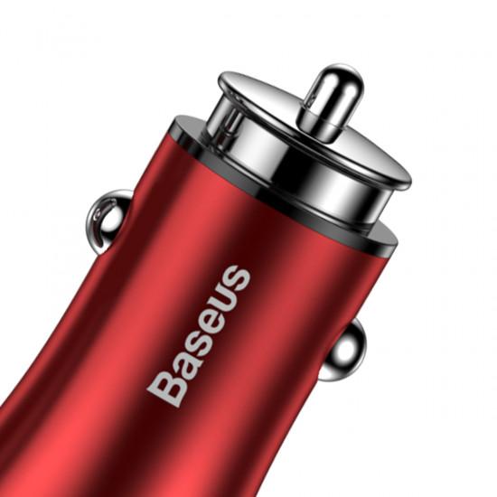 Baseus Gentleman Φορτιστής Αυτοκινήτου Γρήγορης Φόρτισης 4.8A 2xUSB Ports - Red - CCALL-GB09